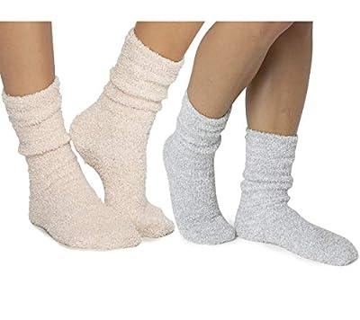 Barefoot Dreams CozyChic Women Heathered Socks, Crew Socks, Plush Socks, Loungewear, Warm Toes, Fuzzy Socks-Graphite/White-Stone/White (Set of 2)