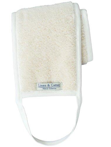 Dos Sangle Exfoliante en Lin Naturel Pour Le Bain AIRA, 60% Lin, 40% Coton - Blanc (15 x 70cm)