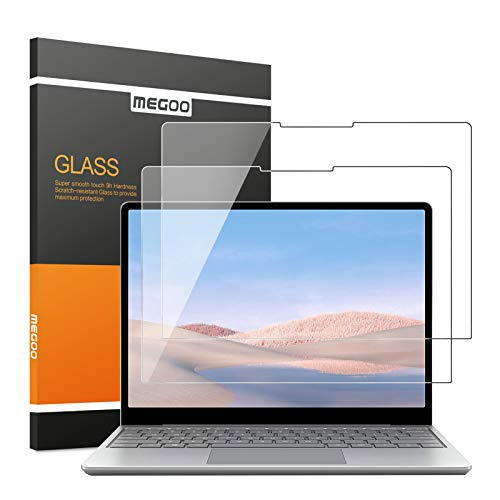 "[2 pack] Megoo Surface Laptop Go 12.4"" Glass Screen Protector, 9H Hardness/Easy Installation/Ultra Clear Tempered Glass,Compatible for Microsoft Surface Laptop Go"