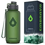 Embrava 40oz Water Bottle - Large with Travel Carry Ring - Wide Leak Proof Drink Spout - Heavy-Duty,...