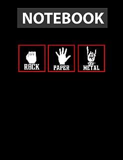 rock paper meta.l funny heavy meta.l music fan concert \m/ College Ruled Notebook 8.5x11 inch