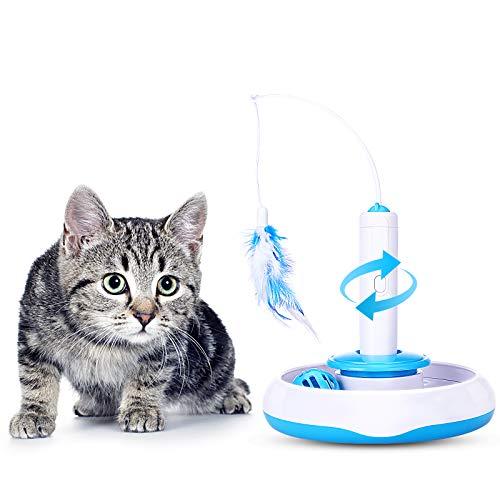 PEDOMUS kat speelgoed veren speelgoed elektrische 360° draaien met bel bal kat interactieve speelgoed automatische entertainment