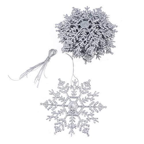 decorazioni natalizie argento Toyvian 24 Pezzi Decorazioni Albero di Natale Glitter Ciondolo di Fiocco in plastica per appese addobbi Natalizie