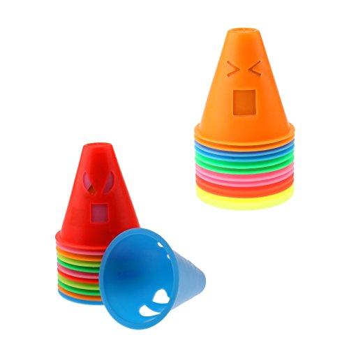 MagiDeal 24 Stü Lustige Ausdrücke Design Inline Rollschuh Skateboard Cones Pile Cup Slalom