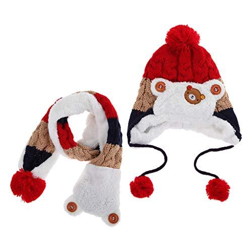 F Fityle Niño Pequeño Bebé Niño Gorro de Invierno Gorro Cálido con Capucha Bufanda de Punto Gorra 6-48 Meses - rojo.