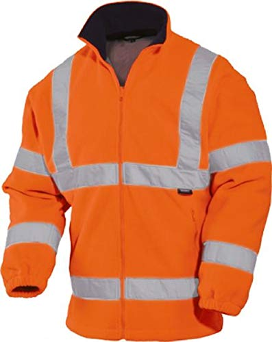 -vizwell- Warnschutz-Fleecejacke Warnfleecejacke Premium Polarfleece orange oder gelb Gr.S-3XL (L, Orange)