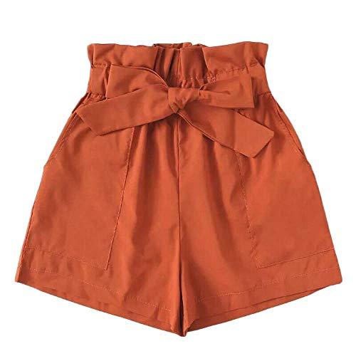Xmiral Shorts Damen Hot Pants Baggy Latzhose mit Tasche Gürtel Elastische Hohe Taille Freizeit Relaxed Turnhose Sporthose Jogginghose(Orange,XL)