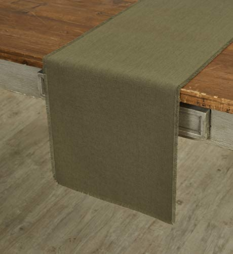 Solino Home 100 Pure Linen Fringe Table Runner 14 x 72 Inch Natural Fabric Handcrafted Olive product image