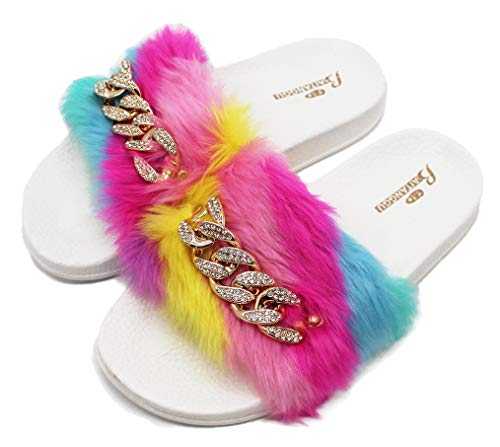 D.S.mor Women Furry Slides Rainbow Plush Rhinestone Outdoor Furry Slippers (9)