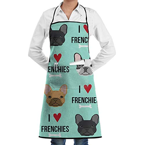 Jiulong I Love Frenchie Dog Aprons for Women/Men Bib Save-All Barbecue Waitress Cloth Funny Chef Apron for Home