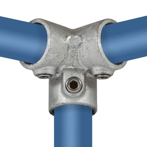 Klemp - 3-Wege-Eckstück, 90-Grad, Eck-Verbinder-Kreuzstück, Temperguss galvanisiert, feuerverzinkt, inkl. Schrauben, Typ 18D - 42,4 mm / 1 ¼