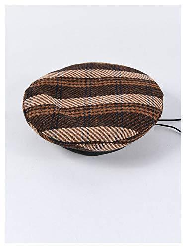 ISMILE Modische Baskenmütze für Damen und Damen, Retro, Karomuster, Paris-Mütze, Kaffee
