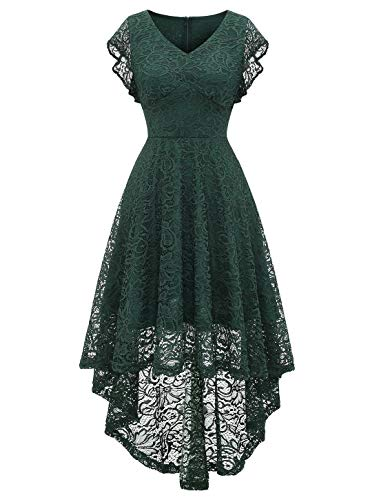 MODECRUSH Womens High Low Wedding Cocktail Party Homecoming Floral Lace Dress Ruffle Sleeve XL Blackishgreen