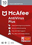McAfee AntiVirus Protection Plus 2020 Internet Security Software, 10 Device, 1 Year - Key Card
