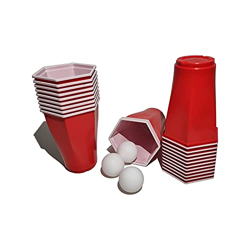 trooplex Hexagon Bierpong Becher | 22 Redcups mit 3 Bällen | 500 mL Mehrweg Plastik | american beer pong party set Red Cups 16 oz für Partys Festivals als Geschenk oder zum Vorglühen Trinkspiel (Rot)
