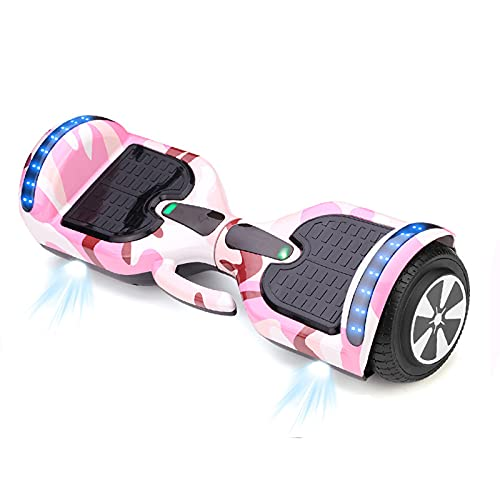 Hoverboard, todo terreno de dos ruedas de dos ruedas 7 'Uniciclos eléctricos de auto-equilibrio inteligente con luces LED de altavoz Bluetooth incorporadas para adultos regalos para niños,Rosado