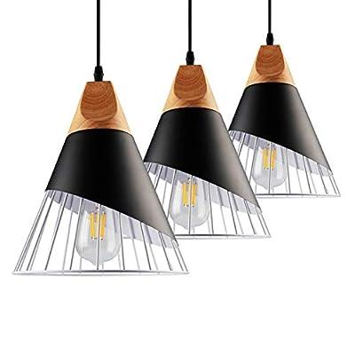 """B2ocled Pendant Light Nordic Modern Iron Style Hanging Light Fixture E26/E27 Base 55"""" Cord Adjustable Living Room Bedroom Pendant Lighting 9.4"""" Diameter with Edison Bulb(3 Packs)"""