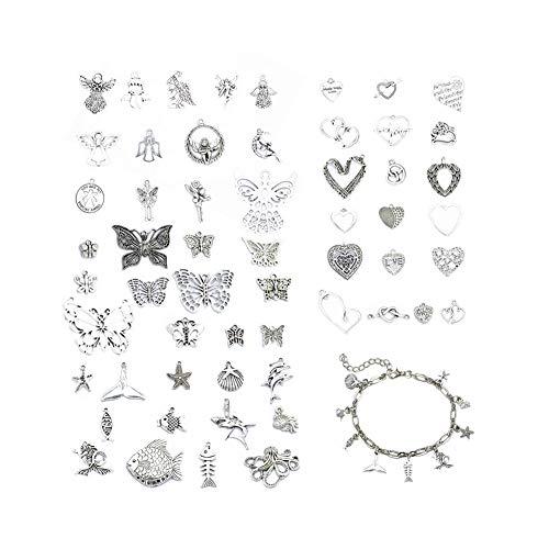 Ciondoli con ciondolo a forma di farfalla, mare/cuore/angelo, in argento antico, per collane, bracciali, maglioni e gioielli fai da te (57 pezzi)