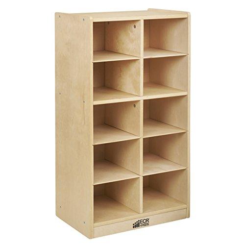 ECR4Kids Birch 10 Cubby Tray Cabinet, Home or School Storage Organizer, Durable Birch Hardwood, Heavy-Duty Mobile Caster Wheels, GREENGUARD [GOLD] Certified, CPSIA-Compliant, Rolling Storage