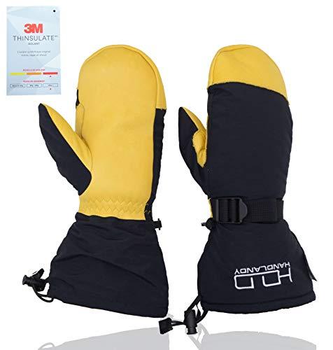 HANDLANDY Waterproof Winter Skiing Snowboarding Mittens, Warm 3M Thinsulate Outdoor Cold Weather Ski Gloves for Men Women XL