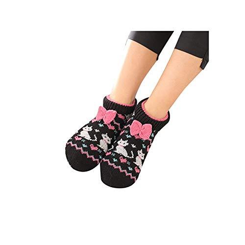 ODJOY-FAN 1 Paare Adult Weich Gemütlich Zuhause Bett Fußboden Booties Socken Schlafen Socke Erwachsene Fußbodensocken Rutschfest Verdicken Samt Socken 24X8cm(B,1 Paar)
