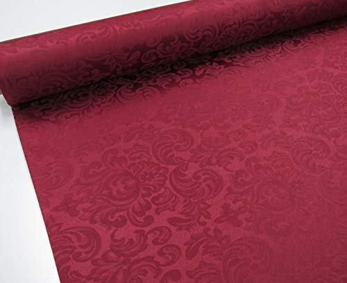 Confección Saymi Tela Raso Brocado, 2,45 MTS Ref. Damasco, Color Burdeos, con Ancho 2,80 MTS.