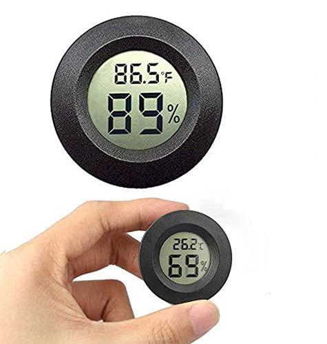 Meggsi 1-Pack Mini Hygrometer Thermometer Digital Gauge Indoor, LCD Monitor Temperature Outdoor Humidity Meter for Humidors Greenhouse Jars Incubators Guitar Case, Fahrenheit (℉) or Celsius(℃)