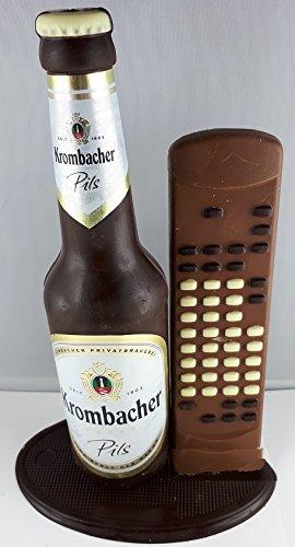 v12#122021 Schokolade, Bierflasche, in ORIGINAL Größe, mit Fernbedienung, Krombacher Bier, Bierflasche aus Schokolade, Schokoladenbierflasche, echte Etiketten