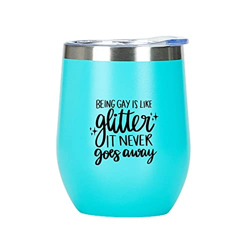 Vaso de vino de 350 ml con purpurina para regalo de cumpleaños, Navidad, aniversario, día de San Valentín, color azul claro
