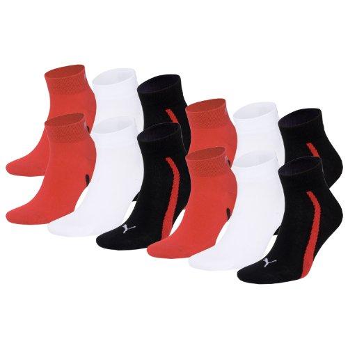 PUMA Unisex Winner Quarter Sport Socken Sportsocken 12er Pack black / white / red 852 - 35/38