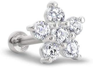 "316L Surgical Steel Labret Nose Ring Monroe Stud Screw Post 1/8"", 5/32"", 3/16"", 1/4"", 5/16"", 3/8"" Sterling Silver Clear Flower Cluster 18G or 16G"