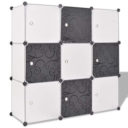 qazxsw Zapateros Organizador de Almacenamiento Estanterías de Almacenamiento con 9 Compartimentos Zapatero - Blanco y Negro, 110x37x110 cm