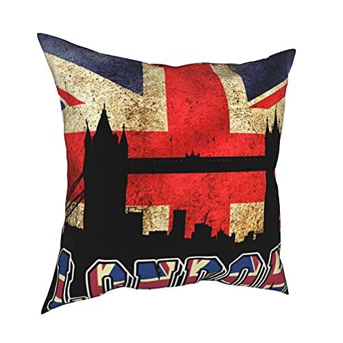 Kissenbezug mit britischer Flagge & Londoner Brücke, dekorativ, 40,6 x 40,6 cm, quadratisch, für Zuhause, Sofa, Schlafzimmer, Wohnzimmer