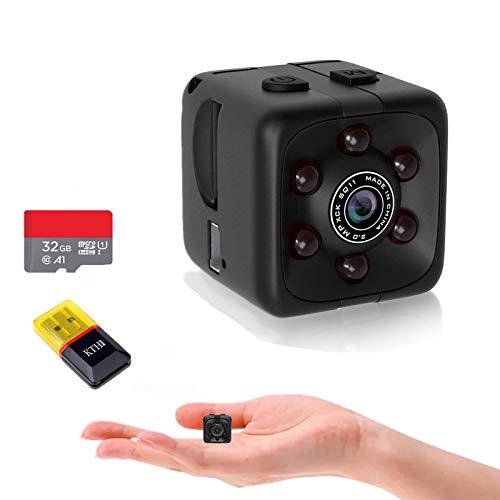 Mini Spy Camera Include 32G SD Card Hidden Camera HD Audio and Video Recording, Night Vision Motion Detection, Surveillance Camera Small Dog Camera Nanny Cam Baby Monitor Home Security Camera