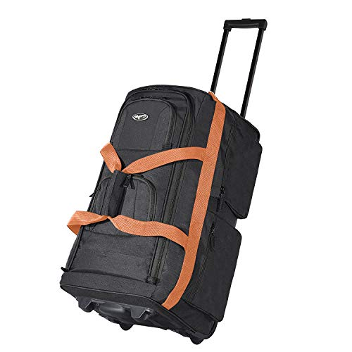 Olympia Luggage 29' 8 Pocket Rolling Duffel Bag (Black w/Beige - Exclusive Color)
