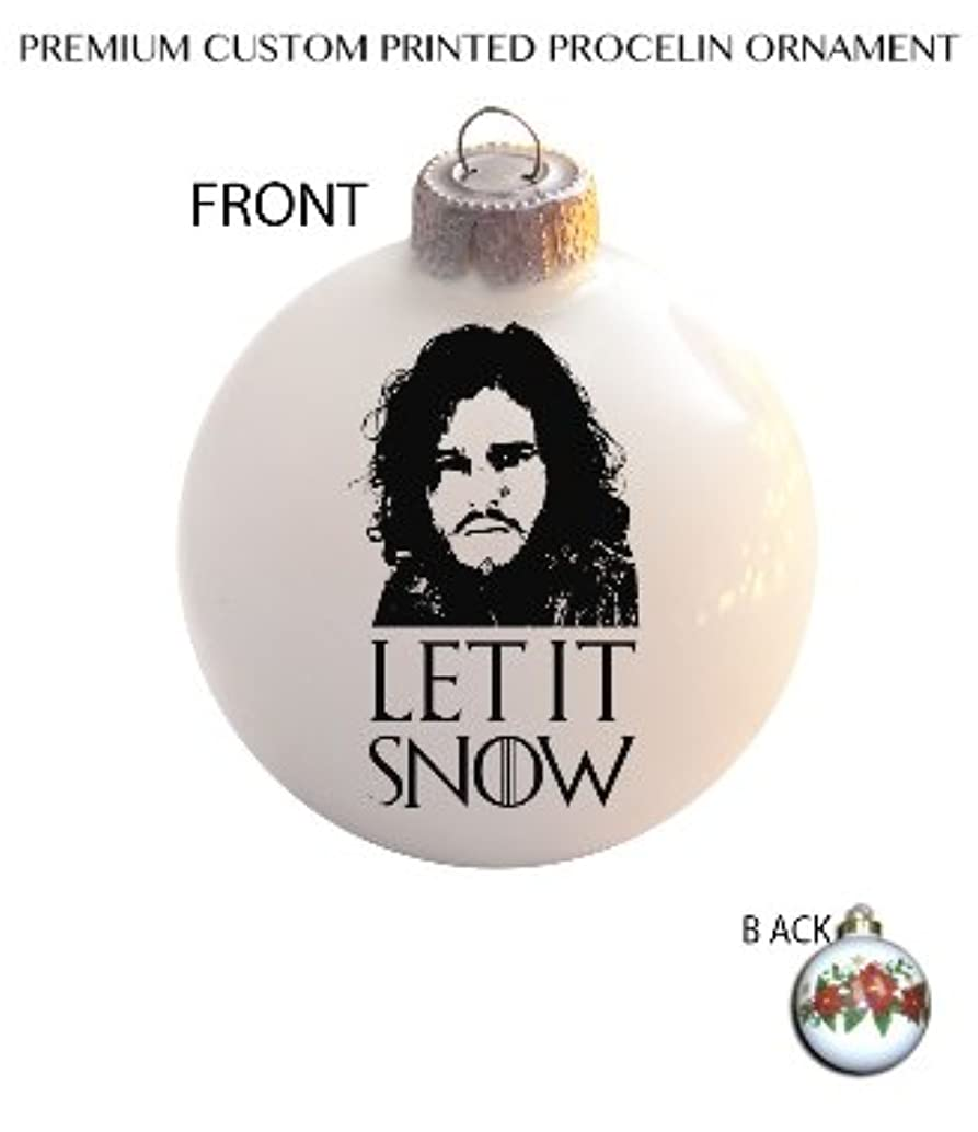 MWcustoms Awesome Let It Snow Fan Made Art Ceramic Ball Poinsettia Christmas Tree Ornament