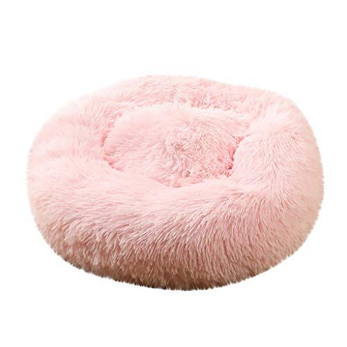 Fenverk Haustierbett Hundebett Katzenbett Rundes Plüsch Hundesofa Katzensofa Kissen in Doughnut-Form(Rosa,XL/80x80cm (Haustier unter 20kg))