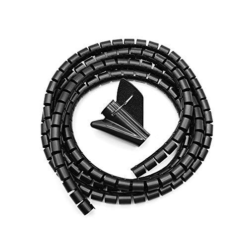 FUJIE Kabelschlauch 16mm x 2m Kabelkanal flexible Kabel Spiralschlauch kürzbar Kabelorganisation mit Einziehhilfe, Schwarz