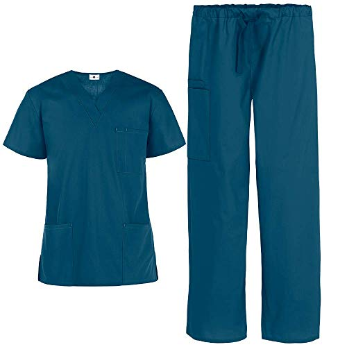 Unisex Medical Uniform Scrub Set - Includes 3 Pocket Top and Pant by Strictly Scrubs, Caribbean Blue, Medium