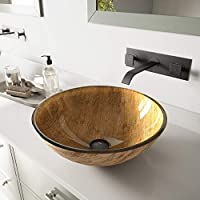 Vigo Amber Sunset Glass Vessel Sink and Titus Wall Mount Faucet Set (Antique Rubbed Bronze)