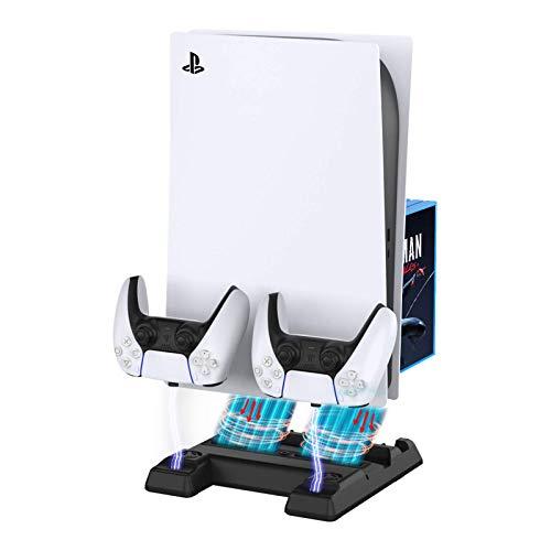 BEJOY - Soporte vertical multifuncional con doble ventilador de refrigeración para consola PS5, 3 niveles de velocidad de ventiladores, estación de carga dual tipo C PS5 con...