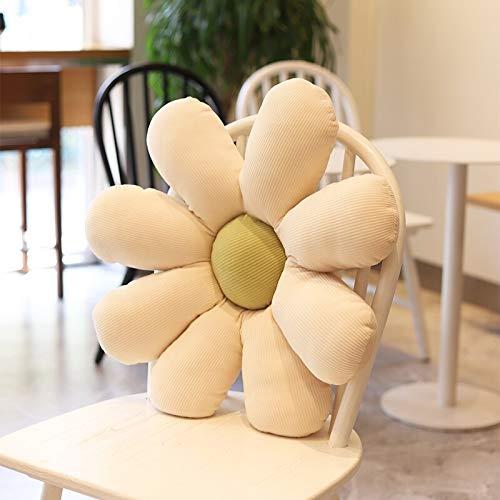 Cojín de peluche para amigos, 65 x 65 cm, bonito cojín de peluche con diseño de margaritas de plantas realistas para el hogar, sofá, decoración de silla, color verde y crema