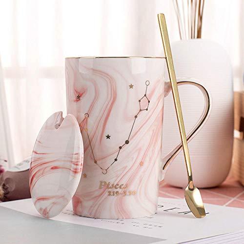 HKTWP Mug, Zodiac Rose en Céramique 12 Constellations avec Couvercle Tasse À Café Personnalité Créative Tasse 400 ML sans Plomb - Pas De Boîte-Cadeau