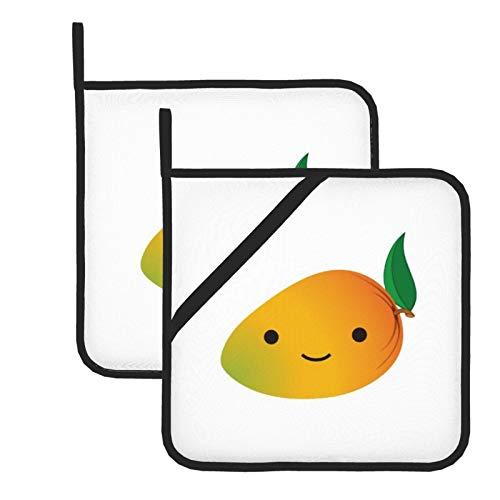 wellay Juego de 2 agarraderas para ollas, lindas almohadillas calientes Kawaii con mango sonriente Kicthen lavables, resistentes al calor, ideal para asar a la parrilla, hornear, cocinar