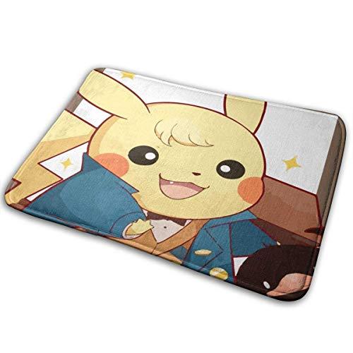 Bienvenido Pikachu, traje de negocios, alfombrilla para puerta, alfombra de entrada para interiores y exteriores, alfombrillas de goma, alfombras finas antideslizantes para alfombrilla de puerta delan