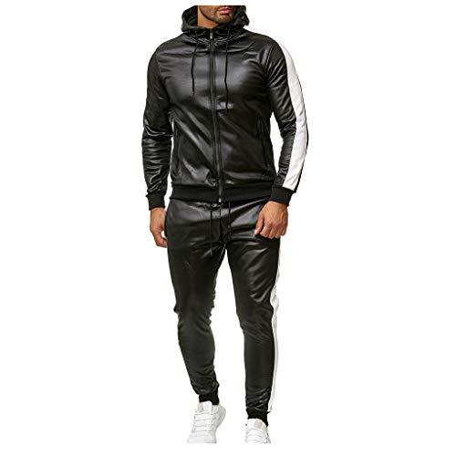 Sllowwa Herren Jumpsuit Overall Jogging Anzug Trainingsanzug Jogger Sportanzug Hoodie Patchwork Sweatshirt Leder Top Hosen Sets S-2XL