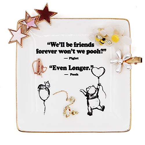 Winnie The Pooh Quotes and Saying Ring Jewelry Holder Dish gifts for sister friends Girl daughter Room Bedroom Decor