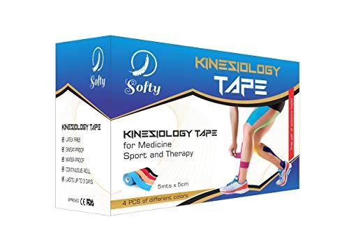Kinesiologisches Klebeband, Softy, 4 Rollen von Kinesio Tape, 5 cm x 5 m, verschiedene Farben, Schere gratis