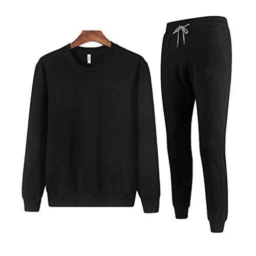 Jitong Homme Ensemble Jogging Survetement Col Rond à Manches Longues Sweat-Shirt Pantalon de Sport Noir 3XL