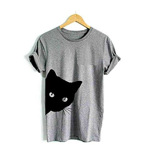 Katze, die heraus Seite Druck-Frauent-Shirt Baumwollbeiläufiges lustiges T-Shirt für Dame Girl Top Tee Hipster schaut